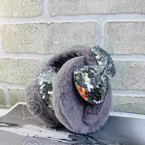 Ободок на уши Плюшевый Серый зимний складной детский с бантом и двусторонними пайетками Серебристый-Зеркальный
