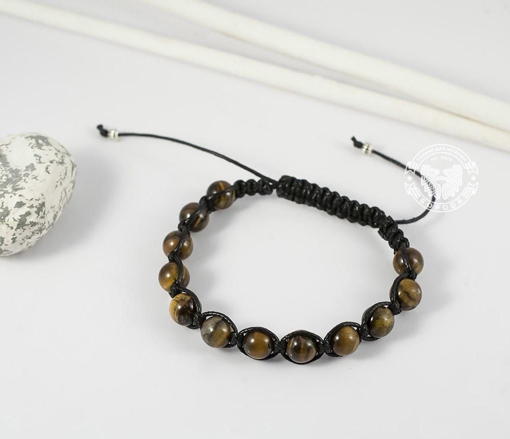 Boroda Design, Стильный мужской браслет ручной работы из камня -тигрового глаза. «Boroda Design»