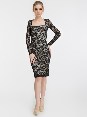 Кружевное платье миди, черное