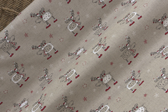 Льняная интерьерная ткань  рисунок НОВОГОДНИЕ ЛОСИКИ СО СВЕЧКАМИ