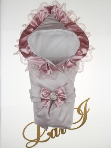 Демисезонный конверт одеяло на выписку из роддома Милена (бледно сиреневый)