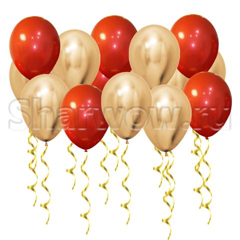 Воздушные шары под потолок Золото хром и зеркальный красный
