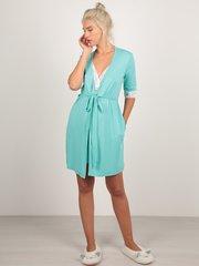 Euromama/Евромама. Комплект халат и сорочка с кружевом из вискозы, ментол вид 4