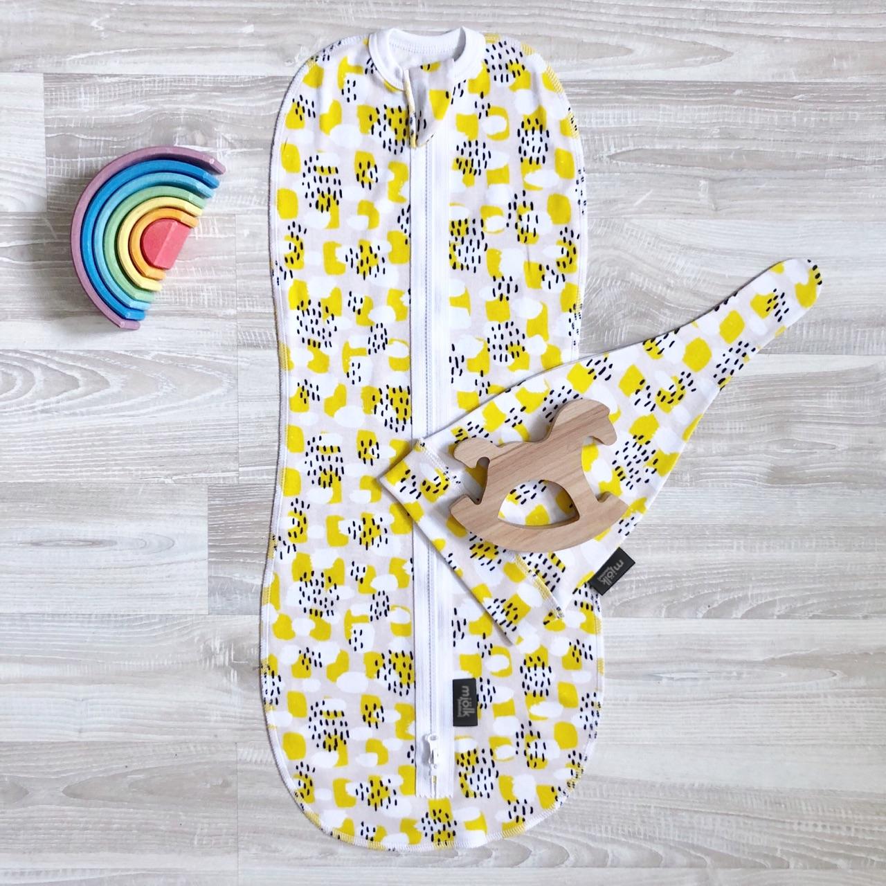 Пеленальный кокон и шапочка Mjölk Mustard Spots