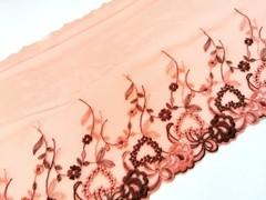 Вышивка на сетке, ПРАВАЯ, 19 см, оранжевый/коричневый, м