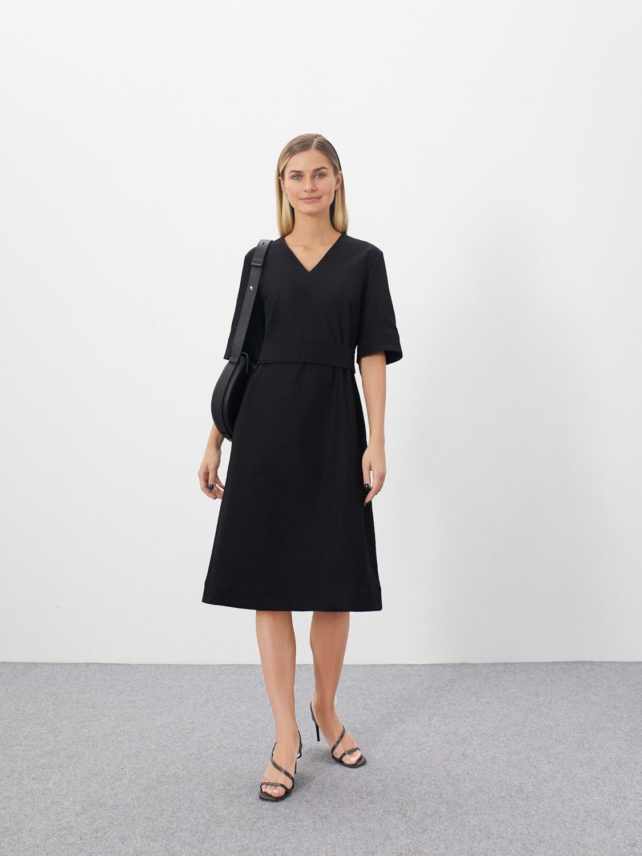 Платье Amanda с широкими рукавами и поясом, Черный