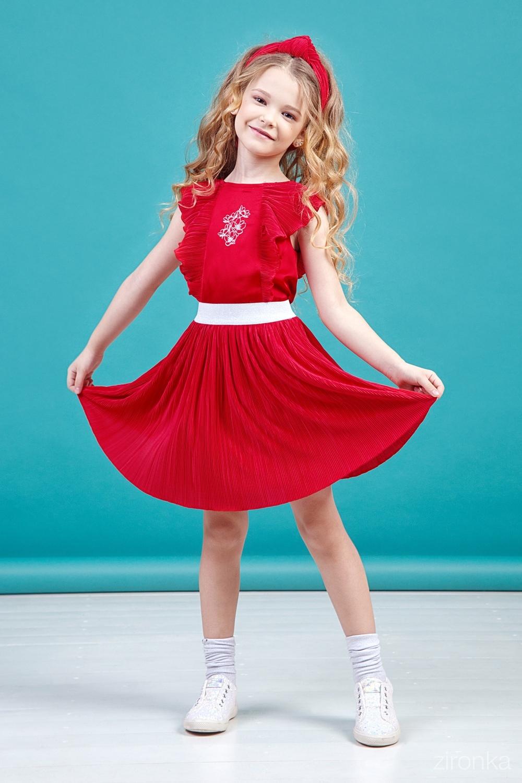 Комплект (юбка, блузка) красный для девочки 64-9006-4