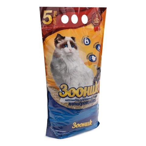 Зооник наполнитель для кошачьего туалета древесный комкующийся 5л