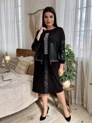 Шайн. Женское комбинированное с эко-кожей платье. Черный
