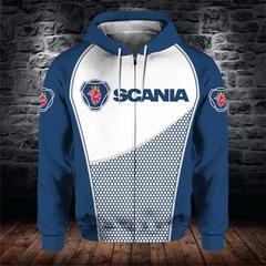 Толстовка утепленная с молнией 3D принт, Scania (3Д Теплые Худи с молнией Скания) 02