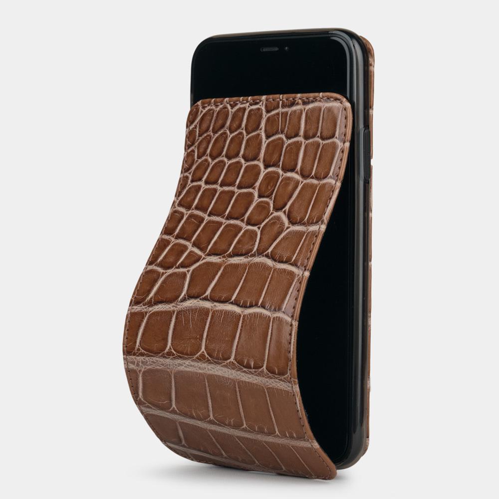 Special order: Чехол для iPhone 11 Pro Max из натуральной кожи крокодила, цвета коричневый лак