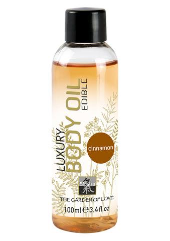 Вкусовое массажное масло Shiatsu Edible Oil Cinnamon, 100 мл.