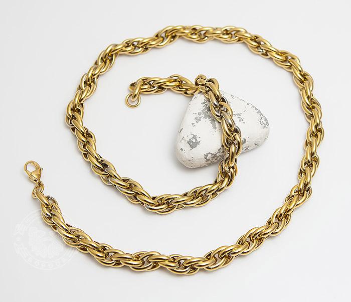 PM247-2 Оригинальная мужская цепь из стали золотистого цвета (55 см) фото 02