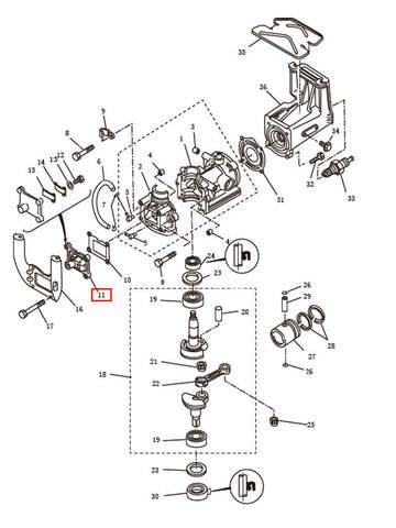 Клапанная площадка в сборе    для лодочного мотора T2,5 SEA-PRO (2-11)