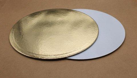 Подложка для торта 22см, толщ. 3.2 мм, золотая/белая, круглая