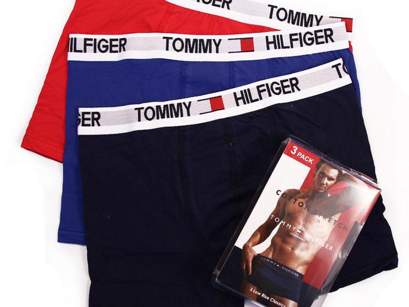 Набор мужских трусов боксеров (голубые ,красные ,темно-синие) 3шт, Tommy Hilfiger  Daily Set