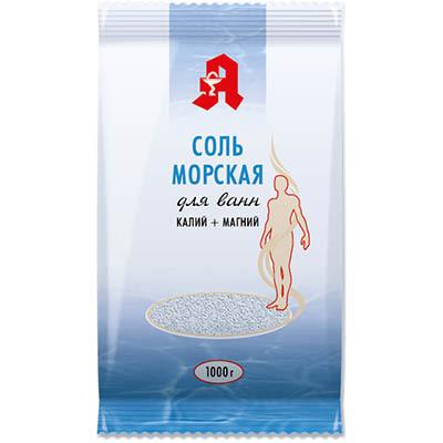Соль для ванн калий + магний Аптечный союз 1 кг.