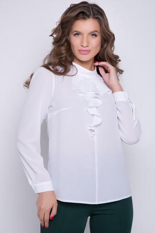 <p>Хит осеннего сезона! Эффектная блузка для стильной леди. Ворот стойка, по переду шикарная рюша. По спинке застежка на пуговице. Рукав длинный с манжетом, сборка по плечу!</p>
