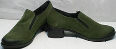 Женские закрытые туфли на толстом каблуке 5 см осень весна Miss Rozella 503-08 Khaki.