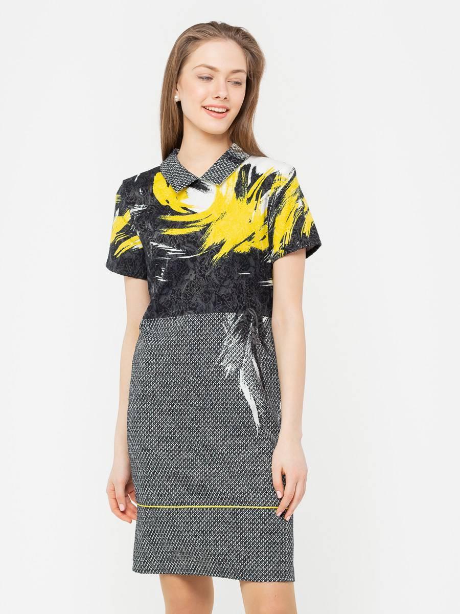 Платье З090-314 - Платье-футляр приталенного силуэта из жаккардового хлопка. Благодаря эластичной ткани и выверенным лекалам, платье отлично сидит на фигуре любого типа.