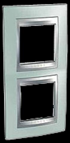 Рамка на 2 поста, вертикальная. Цвет Флюорит-алюминий. Schneider electric Unica Top. MGU66.004V.094