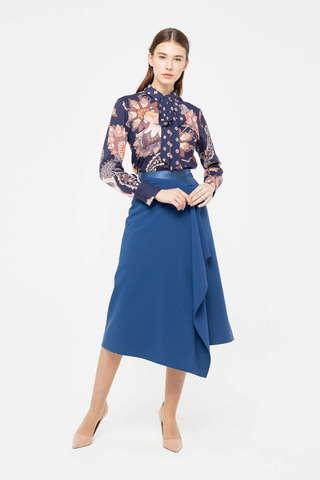 Фото синяя юбка а-силуэта с запахом и поясом на талии - Юбка Б126а-741 (1)