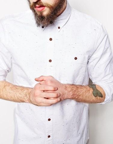 Белая рубашка-оксфорд в крапинку с длинными рукавами