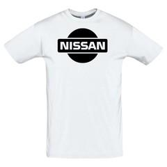 Футболка с принтом Ниссан (Nissan) белая