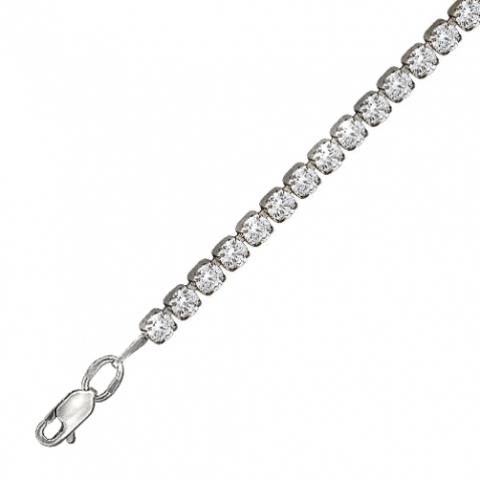 Теннисный браслет-дорожка из серебра с фианитами