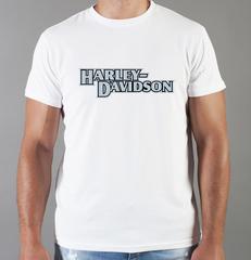 Футболка с принтом Harley-Davidson (Харли-Дэвидсон) белая 0051