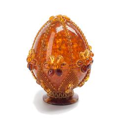 Сувенирное Пасхальное яйцо (натуральный янтарь, бисер), АВ-0747