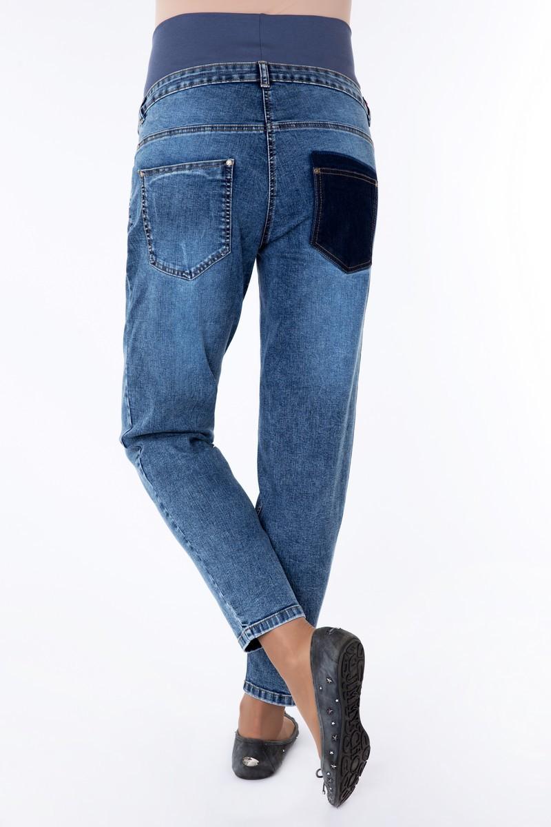 Фото джинсы-бойфренды MAMA`S FANTASY, высокая вставка от магазина СкороМама, синий, размеры.