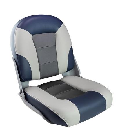 Сиденье мягкое складное SKIPPER PREMIUM, сине-серое