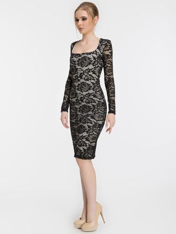Кружевное платье миди, черное 1