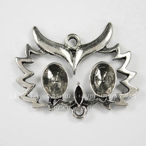 """Коннектор """"Сова"""" (1-1) 32х25 мм (цвет - античное серебро)"""