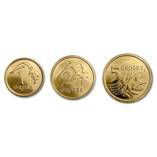 Набор из 3 монет номиналом 1, 2 и 5 грошей. Новый тип. Польша. 2018 г. UNC