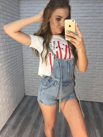 голубой джинсовый комбинезон nadya