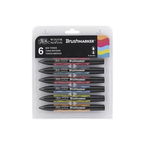 Набор маркеров W&N BRUSHMARKER 6шт средние тона