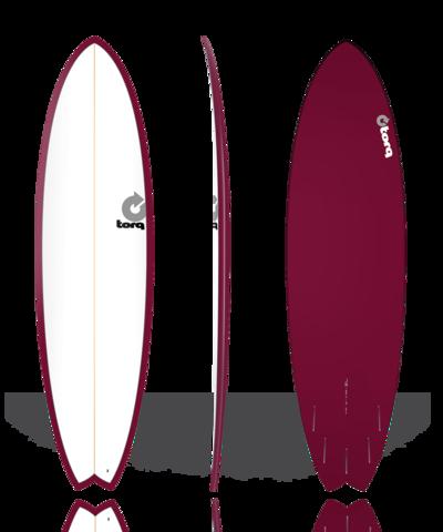 Серфборд TORQ 7'2'' Fish - Color Pinline (white deck/burgundy/pinline)