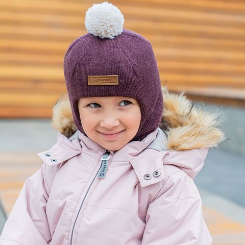 Шлем зимний вязаный с ниточным помпоном