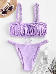 купальник раздельны бикини лиловый лавандовый с пышным топом рюш 1