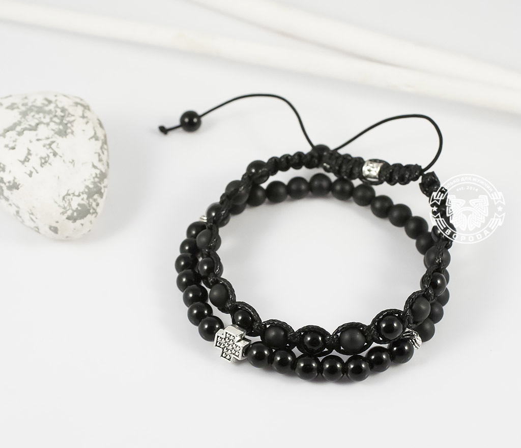 BS635-2 Пара черных мужских браслетов ручной работы из агата и шунгита. «Boroda Design»