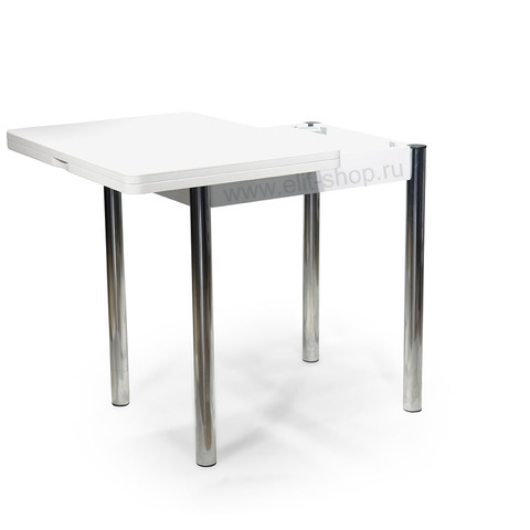 Стол РЕАЛ М-2 Камень 04 белый / подстолье белое / опора №02 хром / 56(112)х76см