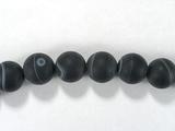 Бусина из агата черного матового, шар гладкий 12мм