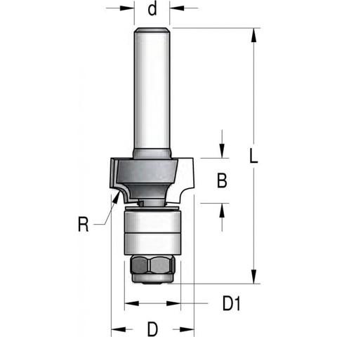 Фреза WPW RWB0303 радиусная R3 D20 B9,5 двойной подшипник хвостовик 6,RWB0303