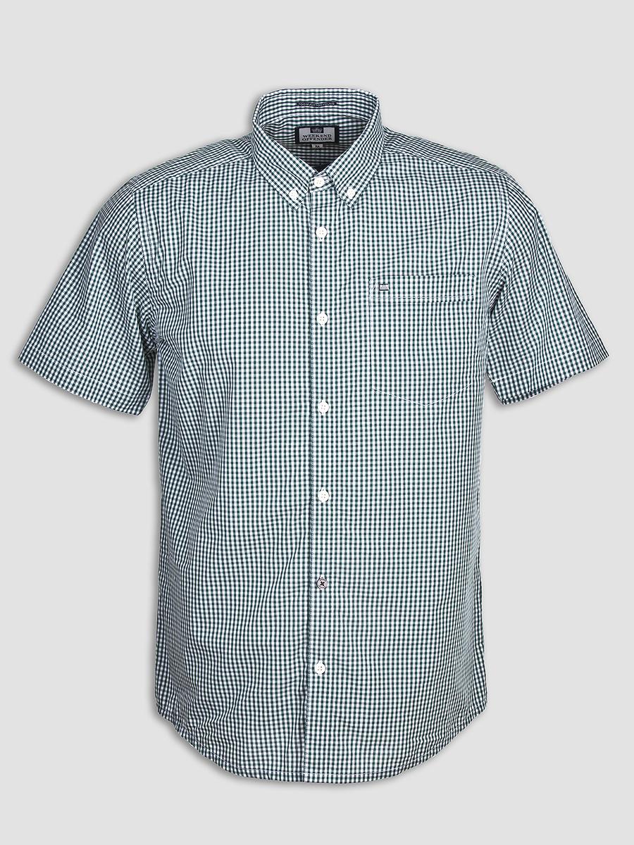 Мужская рубашка с коротким рукавом Weekend Offender Jay Bottle White. Коллекция весна-лето 2016.