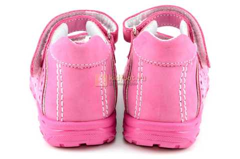 Босоножки Тотто из натуральной кожи с открытым носом для девочек, цвет розовый. Изображение 7 из 12.