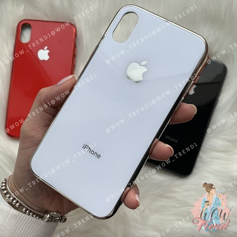 Чехол iPhone XR Glass Case Logo /white/