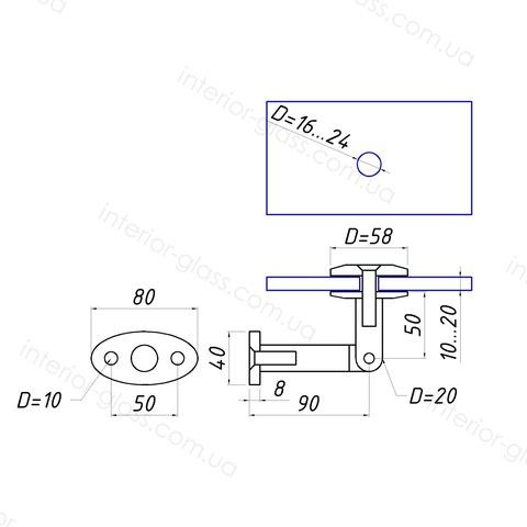 Крепление стена-стекло ST-601 для стеклянных козырьков, навесов