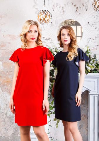 Фото красное платье а-образной формы с рукавом флаттер - Платье З197а-345 (1)